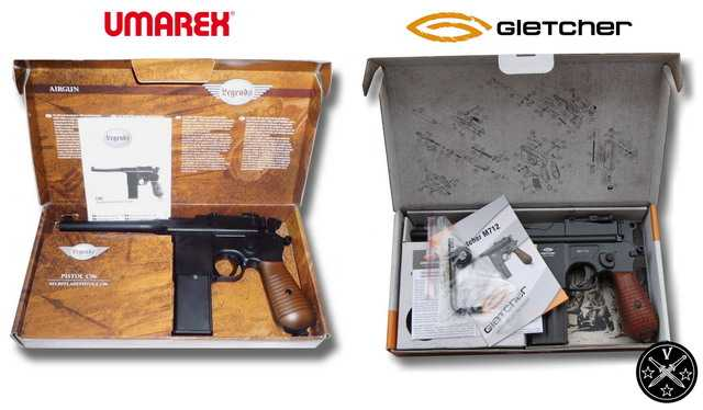 "Маузеры ""Umarex Legends C96"" и ""Gletcher M712"" в коробках"