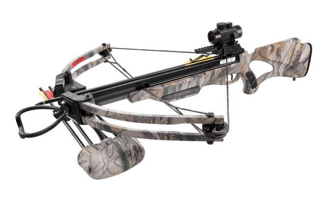 Комплект для блочного арбалета Man Kung 300, god camo (плечи, натяжитель, крепеж, стрелы, ремень)