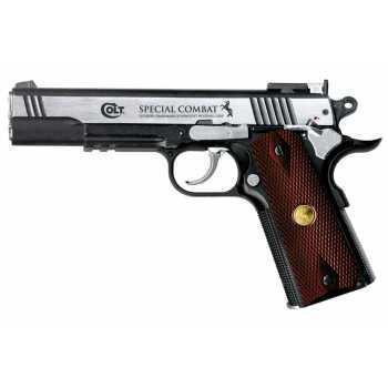 Пневматический пистолет Umarex Colt Special Combat никель с пласт. накладками под дерево 4,5 мм