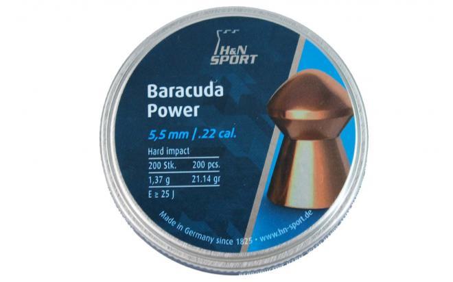 Пули пневматические H&N Baracuda Power 5,5мм 1,37 грамма (200 шт.) headsize 5,50 мм