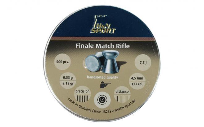 Пули пневматические H&N Finale Match Rifle 4,5 мм 0,53 грамма (500 шт.) (для винт.,гладк.)