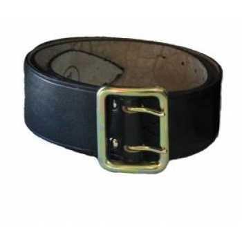 Ремень офицерский кожаный черного/коричневого цвета без подкладки