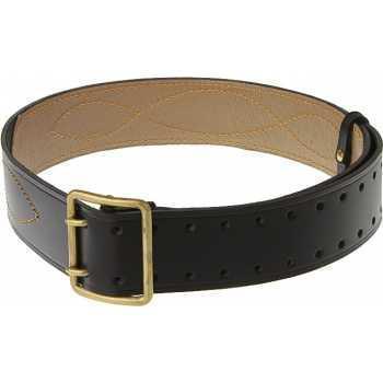 Ремень офицерский кожаный коричневого/черного цвета с подкладкой