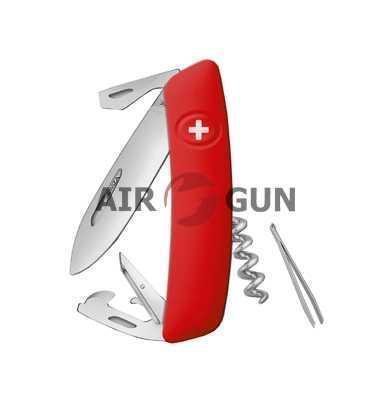 Нож Swiza D03 75 мм, красный, 11 функций, с фиксатором лезвия