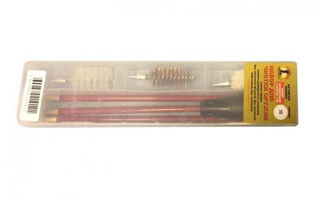 Набор для чистки ружей, кал.16 мм в прозр. кейсе с мет. шомполом в оплетке