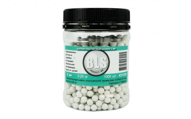 Шарики пластиковые 6 мм BLS 0,25 гр белые (1000 шт)