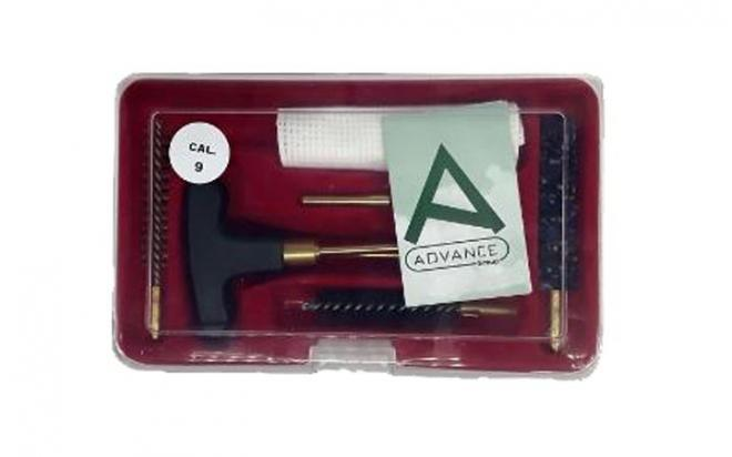 Набор для чистки пистолетный кал. 9 мм (шомпол 21 см. из 2х частей + 3 ершика, вишер, латунь, пластик.пенал)