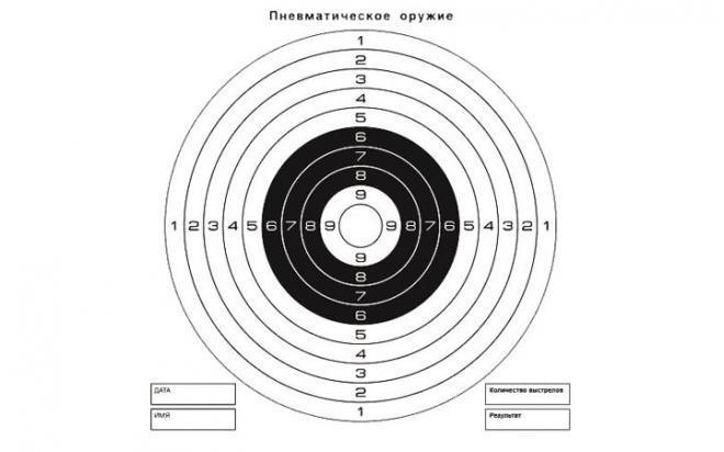 Мишень для пневматики 25 м чёрно-белая, 140х140 мм (50 шт.)