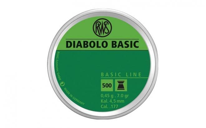 Пули пневматические RWS Diabolo Basic 4,5 мм 0,45 гр (500 шт.)