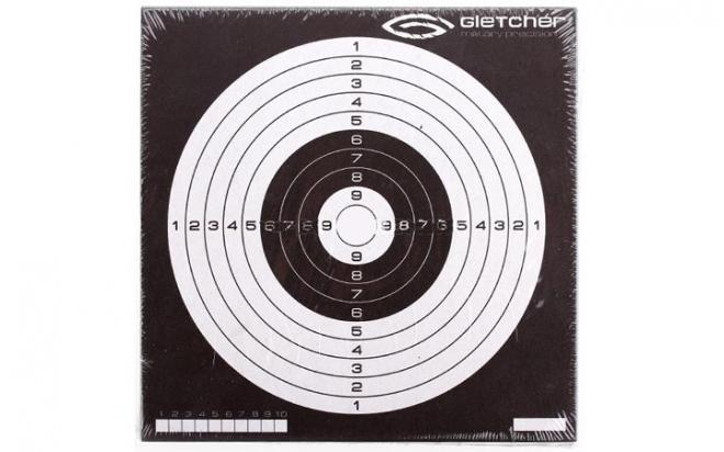 Мишень для пневматики 140х140 мм (логотип Gletcher, 50 шт.)