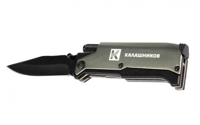 Нож Калашников с фонариком и огнивом Ster (серый, складной)