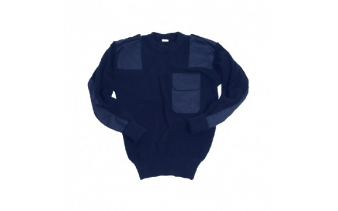Свитер уставной синего цвета с карманом р.56