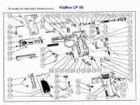 взрыв схема к пневматическому пистолету Umarex Walther CP88 Competition black