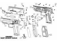 взрыв схема к пневматическому пистолету Umarex Baby Desert Eagle (никель)