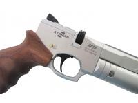Пневматический пистолет Ataman АР16 Silver стандарт дерево 4,5 мм магазин