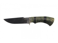 Нож Алтай сталь S390 (карельская береза стабилизированная, изумруд, мельхиор, Стандарт)