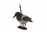 Чучело вороны с лапами на опоре (серый)