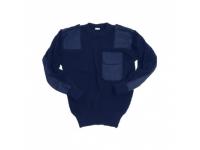 Свитер уставной синего цвета с карманом р.48