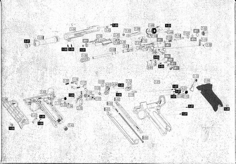 Взрыв-схема на коробке Gletcher Parabellum