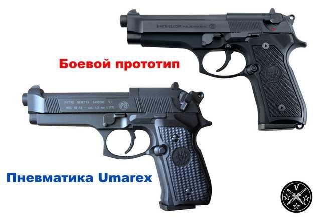 Сравнение боевого пистолета с его пневматической копией