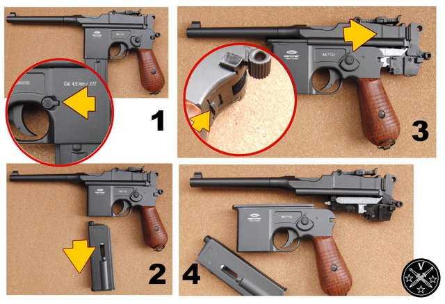 Порядок неполной разборки пневматического пистолета Gletcher M712
