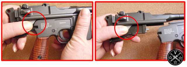 Положение затвора в руке при неполной разборке Gletcher M712