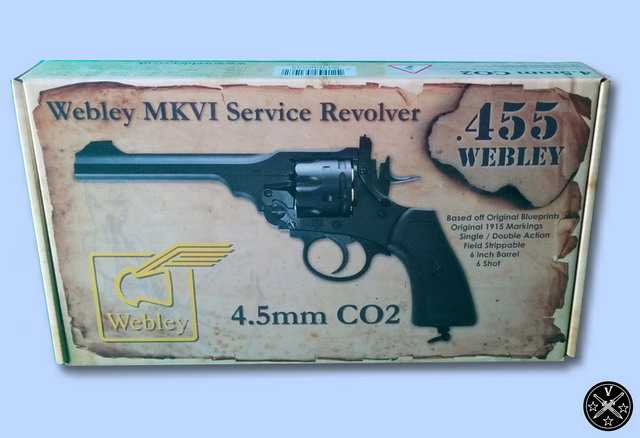 Коробка пневматического пистолета Webley MkVI