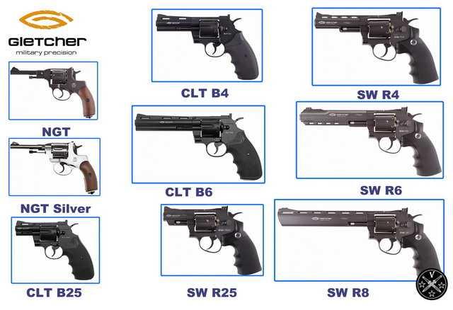 Пневматические airgun револьверы Gletcher