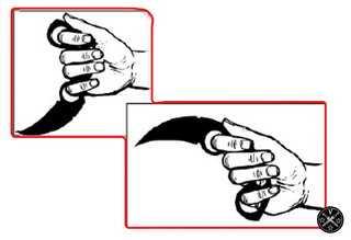Использование второго кольца при хвате ножа