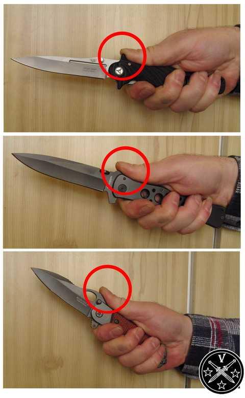 Удердание ножа фехтовальным хватом