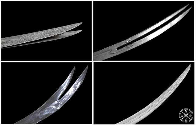 Варианты формы клинка в мечах и саблях Зульфикар