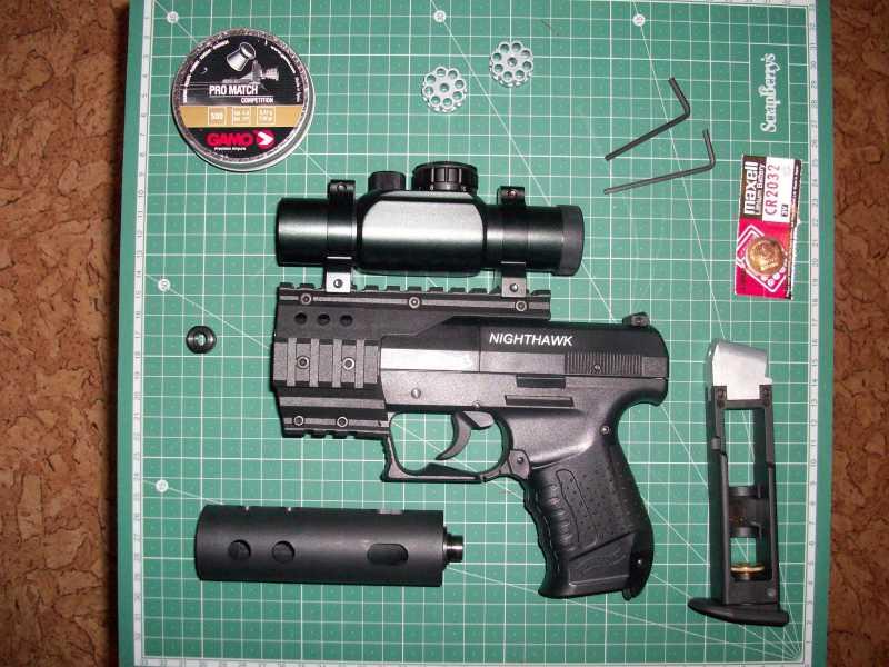 3)Обзор пневматическго пистолета Umarex Walther NightHawk