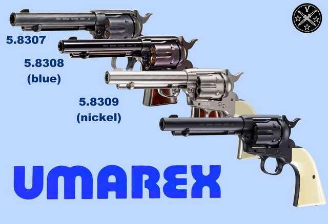 Варианты иснолнения нового пневматического пистолета Umarex Colt Single Action Army  (Peacemaker)