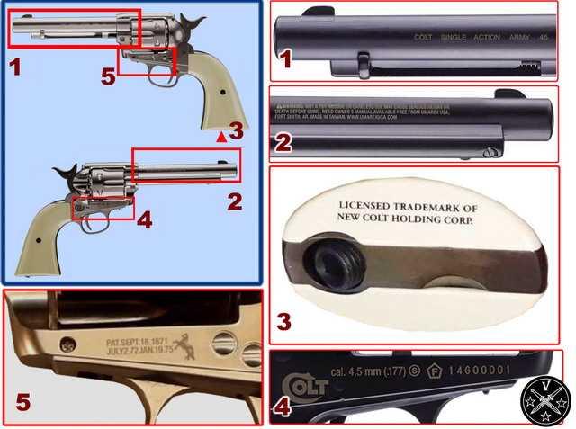 Маркировка на корпусе нового пневматического револьвера Умарекс Миротворец