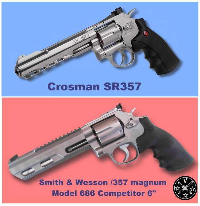 Сравнение пневматического пистолета Кросман с боевым револьвером Смит Вессон