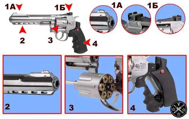 Конструктивные элементы нового пневматического револьвера Crosman