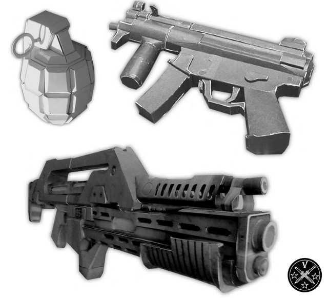 Бумажные модели оружия
