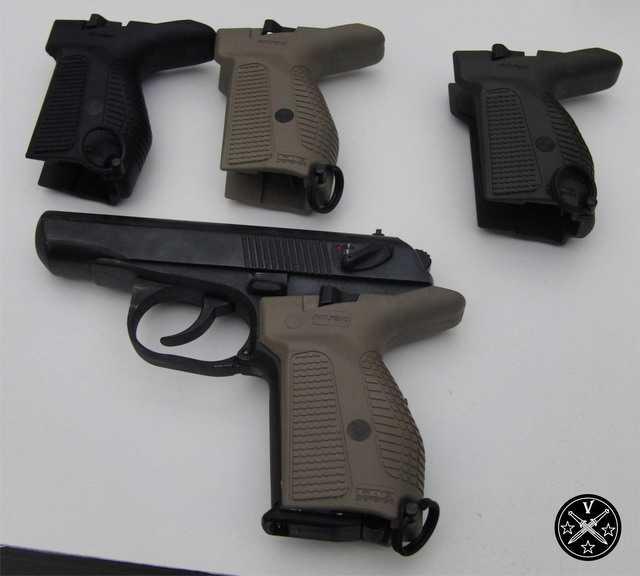 Варианты рукояти FAB для пистолета ПМ в разном цветовом исполнении