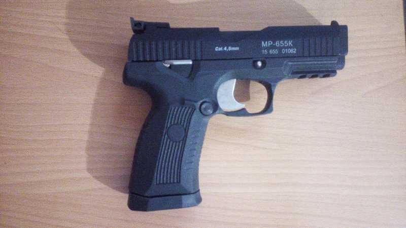 7)Пневматический пистолет МР-655К (пистолет Ярыгина)