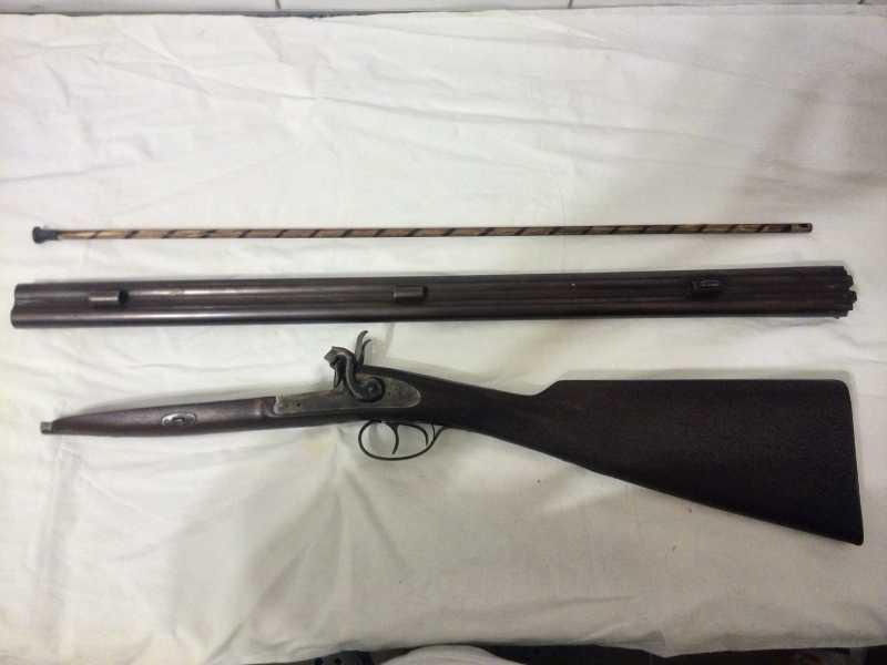14)2-х ствольное, дульнозарядное ружье, 12-го калибра. Педерсоли, Италия.