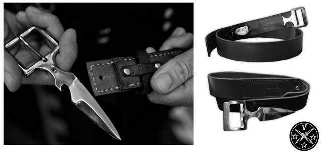 Нож, камуфлированный под пряжку ремня