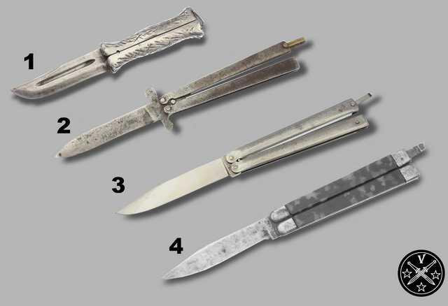 Американские и европейские прототипы ножа бабочки (балисонг)