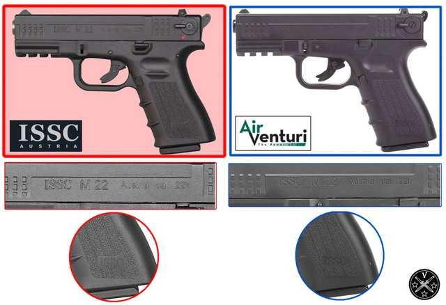 Сравнение левой стороны боевого прототипа M22 и его пневматической копии