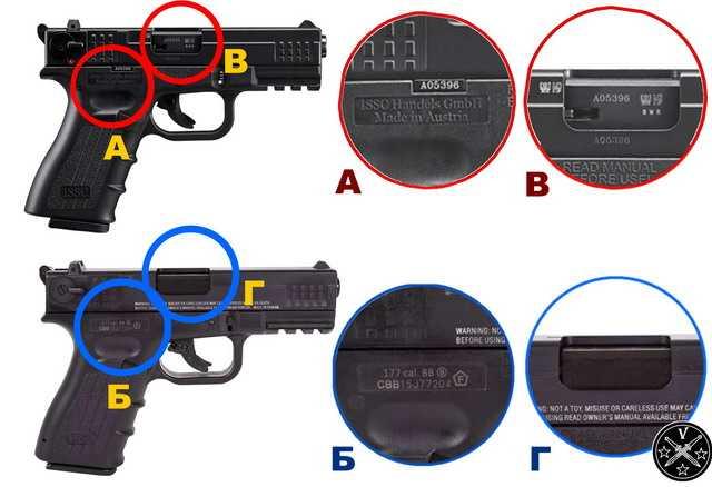 Сравнение правой стороны огнестрельного прототипа и пневматики