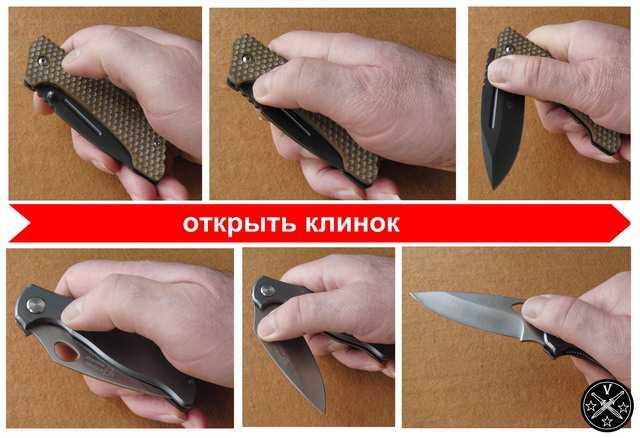 Открывание складного ножа за штифт и с помощью отверстия в клинке