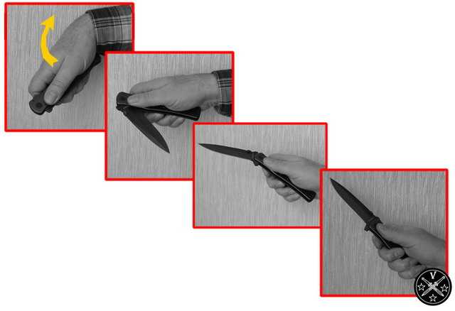 Инерционное открывание складного ножа махом руки