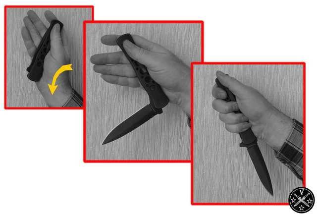 Открывание складника махом руки под обратный хват