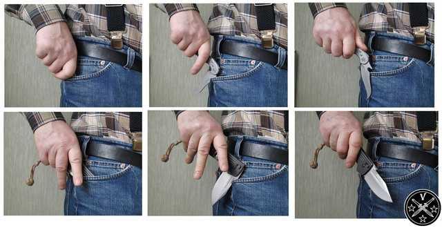 Автоматическое открывание складного ножа при извлечении из кармана одежды