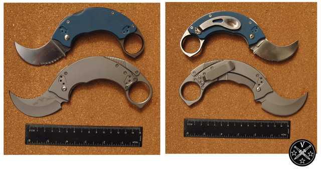 Сравнение клонов ножей Крудо в открытом состоянии
