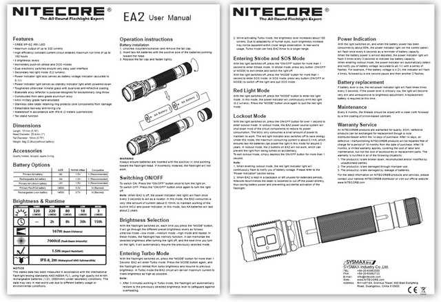 5)Обзор карманного фонаря NITECORE EA2